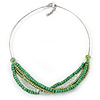 Glass and Wood Bead Multistrand Wire Necklace In Silver Tone - 48cm L/ 3cm Ext