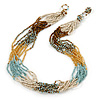 Multistrand Light Blue/Gold/ Antique White/ Brown Glass Bead Necklace - 50cm L