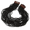 Black Glass Bead Multistrand, Layered Necklace With Wooden Square Closure - 64cm L