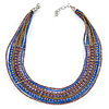 Multistrand Purple/ Bronze/ Violet Blue Glass Bead Collar Style Necklace In Silver Tone Metal - 42cm L/ 4cm Ext