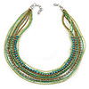 Multistrand Green Glass Bead Collar Style Necklace In Silver Tone Metal - 42cm L/ 4cm Ext