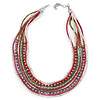Multistrand White/ Raspberry/ Purple/ Turquoise Glass Bead Collar Style Necklace In Silver Tone Metal - 42cm L/ 4cm Ext