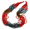 Long Multistrand Red/ Hematite/ Brown Glass Bead Necklace - 77cm L