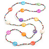 Long Multicoloured Coin Shell Bead Necklace - 118cm L