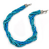 Teal Square Wood And Blue Off Round Glass Bead Multistrand Twisted Necklace In Silver Tone - 44cm L