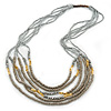 Light Grey, Metallic Silver, Gold Glass and Acrylic Bead Multistrand Necklace - 80cm L