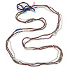3 Strand Plum Glass, White Acrylic and Silver Tone Metal Bead Long Necklace - 100cm L