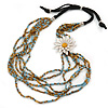 Light Blue/ Gold Glass Bead with White Leather Flower Black Sued Cord Multistrand Necklace - 90cm L