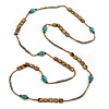 Long Turquoise Stone, Shell Nugget/ Glass Bead Necklace - 130cm L