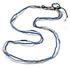3 Strand Blue Glass, Acrylic and Silver Tone Metal Bead Long Necklace - 100cm L