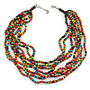 Multicoloured, Layered Multstrand Wood Bead Necklace - 64cm L/ 5cm Ext