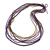 Long Multistrand Deep Purple/ Bronze Wood, Glass Bead Necklace - 100cm L