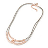 Hammered Double Loop Pendant with Beige Leather Cords Necklace In Rose Gold Tone - 40cm L/ 7cm Ext