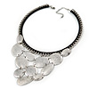 Statement Bib Style Choker Necklace with Black Ribbon In Silver Tone - 45cm L/ 5cm Ext