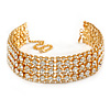 Statement Clear Crystal Choker Necklace In Gold Tone - 28cm L/ 12cm Ext