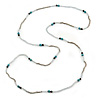 Extra Long Glass, Acrylic Bead Necklace (Teal, Transparent, Silver) - 160cm L