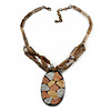 Large Oval Resin Pendant with Chunky Nugget Chain - 46cm L/ 6cm Ext/ 8cm Pendant