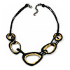 Stylish Black Wood Oval Link with Waxed Cords Necklace - 56cm L/ 8cm Ext