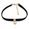 Black Faux Suede Choker Necklace with Lustrous Freshwater Pearl Bead 15mm Pendant - 30cm L/ 7cm Ext