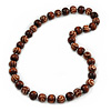 Long Chunky Brown Wood Bead Necklace - 84cm L