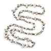 Long Off White Shell Nugget and Clear Glass Crystal Bead Necklace - 120cm L