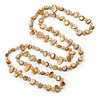 Long Sandy Brown Shell Nugget and Clear Glass Crystal Bead Necklace - 118cm  L