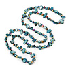 Long Teal Shell Nugget and Chameleon Glass Crystal Bead Necklace - 118cm L