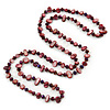 Long Cranberry Shell Nugget and Chameleon Purple Glass Crystal Bead Necklace - 112cm L