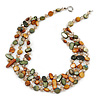 3 Strand Olive/ Mustard Shell Nugget and Crystal Bead Necklace with Silver Tone Spring Ring Closure - 56cm L