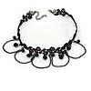 Black Lace Bead and Chain Choker Necklace - 37cm L/ 6cm Ext