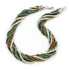 Chunky Multistrand Glass Bead Twisted Necklace with Silver Tone Closure (Dusty Blue, Bronze, White) - 48cm L