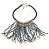 Contemporary Silver, Bronze Acrylic Bead Fringe Black Cotton Cord Necklace - 43cm L/ 5cm Ext/ 14cm Fringe