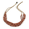 Multistrand Brown Wood Bead Olive Cotton Cord Necklace - 70cm L