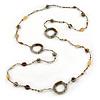 Long Single Strand Glass Bead Necklace (Bronze/ Transparent/ White) - 126cm L