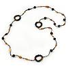 Long Single Strand Glass Bead Necklace (Balck/ Peacock/ Hematite/ Amber) - 124cm L