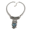 Ethnic Hammered Owl Pendant Necklace In Silver Tone Metal - 40cm L/ 6cm Ext