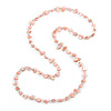 Long Pastel Pale Pink/ Transparent Shell Nugget and Glass Crystal Bead Necklace - 110cm L