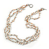 3 Strand White Ceramic, Silver Acrylic Bead Necklace - 44cm L