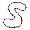 Long Multicoloured Shell Nugget and Glass Crystal Bead Necklace (Purple/ Blue/ Magenta/ Plum) - 110cm L