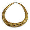 Glittering Gold Graduated Coin Shape Wood Bead Necklace - 56cm L