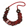 Dark Red/ Brown Wood Button Bead Necklace - 70cm L