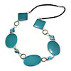 Teal Coloured Wood and Shell Bead with Black Faux Leather Cord Necklace - 74cm L