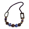 Trendy Wood, Acrylic Bead Geometric Chunky Necklace (Purple/ Brown) - 70cm L