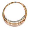 Gold/ Silver/ Rose Gold Tone Layered with Tunnel Detailing Magnetic Necklace - 44cm L