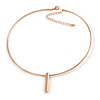 Gold Plated Wire Choker Style Necklace with Bullet Pendant - 39cm L/ 8cm Ext