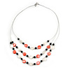 3 Strand White/ Red/ Black Shell and Glass Bead Wire Layered Necklace - 60cm L
