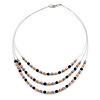 3 Strand Purple/ Orange/ Black Acrylic Bead Wire Layered Necklace - 60cm Long