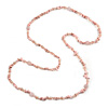 Long Pastel Pink Semiprecious Stone Nugget, Agate and Glass Crystal Bead Necklace - 120cm L