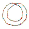 Long Pastel Multicoloured Semiprecious Stone Nugget, Agate and Glass Crystal Bead Necklace - 120cm L