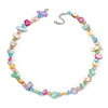Delicate Pastel Multicoloured Sea Shell Nuggets and Glass Bead Necklace - 48cm L/ 7cm Ext